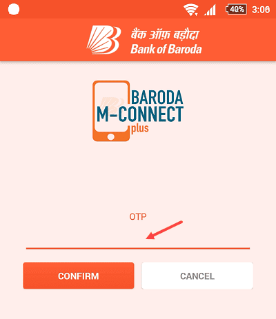 Bank of Baroda M-Connect Mobile Banking OTP