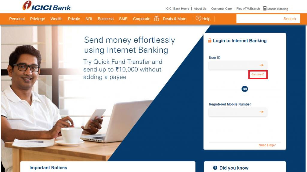 Get User ID in ICICI Net Banking